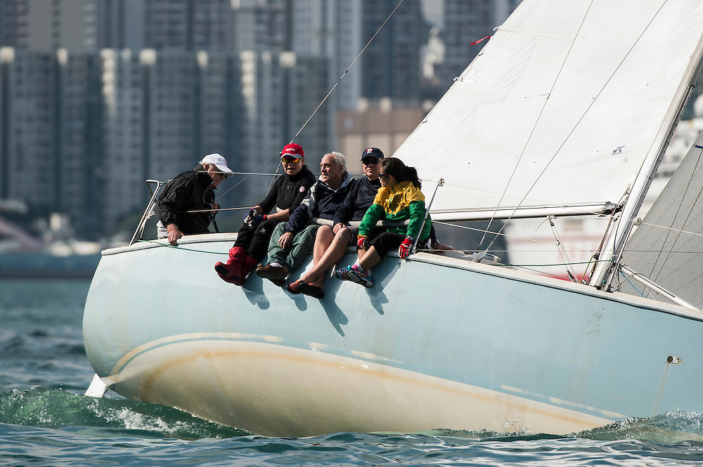 Participants take part on the Tomes Cup part of the Old Mutual Top Dog Trophy Series 2015 - 2016 at the Royal Hong Kong Yacht Club on January 30 2016 in Hong Kong, China. Photo by Xaume Olleros