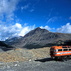 Old bus left on Columbia Icefields in Jasper National Park, Alberta, Canada. This kind of bus was used for taking tourist to the glacial on Columbia Icefield. Now more modern and much bigger busses are used.<br /> <br /> Original on slide. Tiff file is available on request.