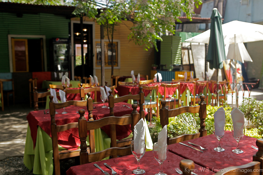 South America, Argentina, Buenos Aires. Outdoor patio dining in La Boca.