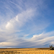 Retired combine waiting for a storm in an eastern Wasington dry-land wheat field
