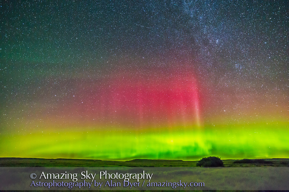 The aurora borealis in a mild display AUgust 26/27, 2014 as shot from Grasslands National Park in Saskatchewan. This is a single frame from a 200-frame time-lapse taken with the Canon 6D and Rokinon 14mm at f/2.8 and for 30 seconds at ISO 3200.