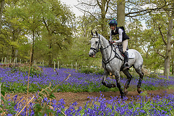 © Licensed to London News Pictures. 23/04/2017. Henley on Thames, UK. Participants take part in the Hambleden Horse Trials.  Celebrating its 20th anniversary, the eventing competition includes disciplines of dressage, show jumping and a cross country element which takes place through bluebell woods. Photo credit : Stephen Chung/LNP