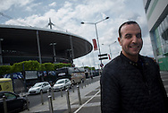 Security measures are being increased at Stade the France prior to Euro 2016<br /> <br /> Security guard Adjroud Soufiane works inside the Stade de France, checking badges and scanning visitors for weapons and other prohibited items. <br /> <br /> <br /> Photographer Chris Maluszynski /MOMENT/INSTITUTE
