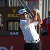 19.01.2013 Abu Dhabi, United Arab Emirates.  Richard Bland in action during the European Tour HSBC Golf championship  third round from the Abu Dhabi Golf Club.