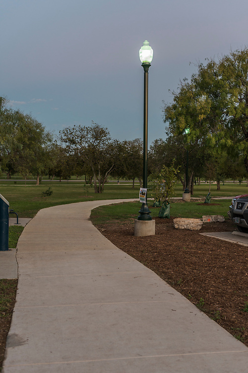 In early November the Shearer Hills Ridgeview Neighborhood Association celebrated the grand reopening of the newly-renovated walking trail on McCullough Ave at Jackson Keller. The upgrades include a new walking surface, updated equipment, and improved lighting.