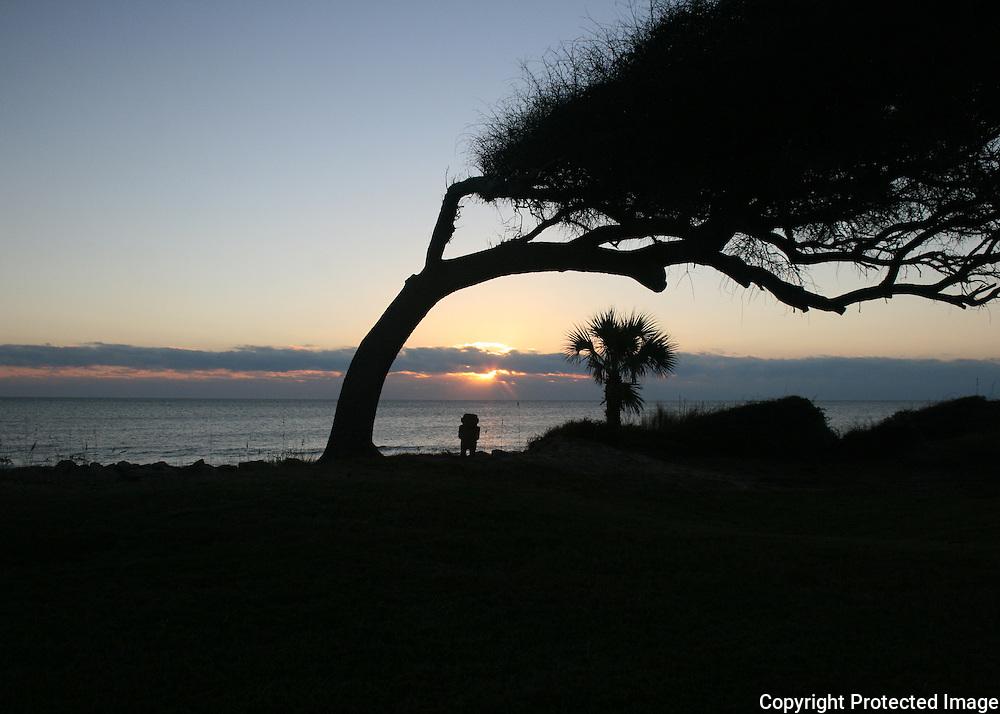 Sunrise on a tropical beach with a tiki god standing guard.