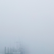 Fishing boats docked in Newport Harbor nearly disappear in early morning fog, Oregon, Lincoln County