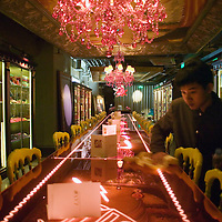 BEIJING, JANUARY-19:an overview of the long hallway of  the LAN Club, the latest addition to Beijing's high-end venues, January 19, 2007...The LAN was designed by Phillipe Starck and spans 6000 square metres.