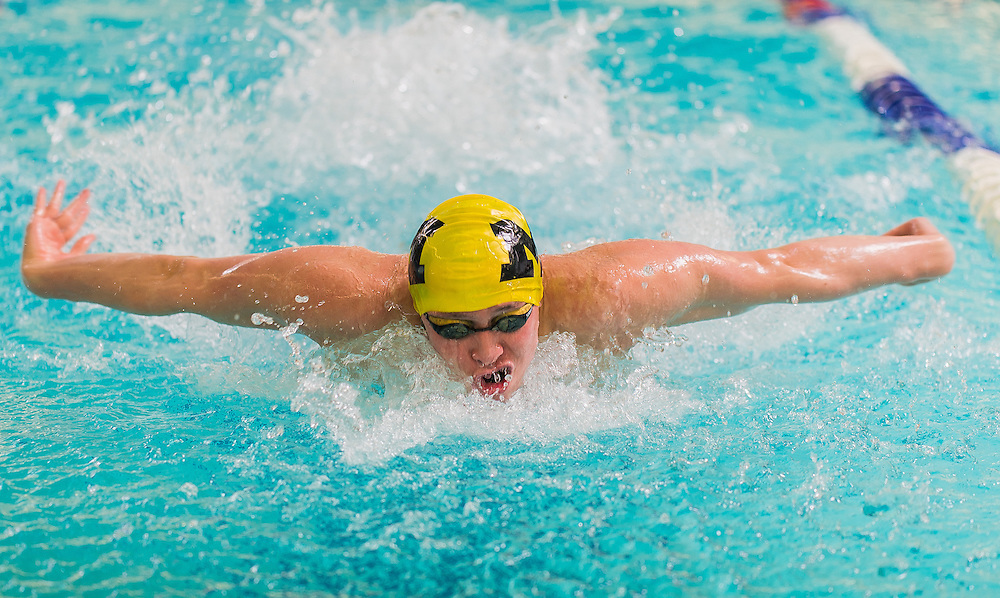Moorestown's Zach Fong competes in the 200 medley during the Burlington County Scholastic League swimming championships at Burlington County Community College in Pemberton, N.J., Friday, January 30, 2015.  Photo by Bryan Woolston / @woolstonphoto.