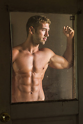 muscular man without a shirt in a screen door frame