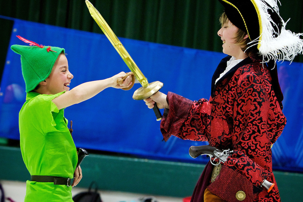 Peter Pan and Capt. Hook, played by Luke English and Tyler Nethercutt respectively, work through their sword fighting scene during a dress rehearsal Thursday at Bryan Elementary. Students will perform the play on stage at the Coeur d'Alene High School auditorium Saturday.