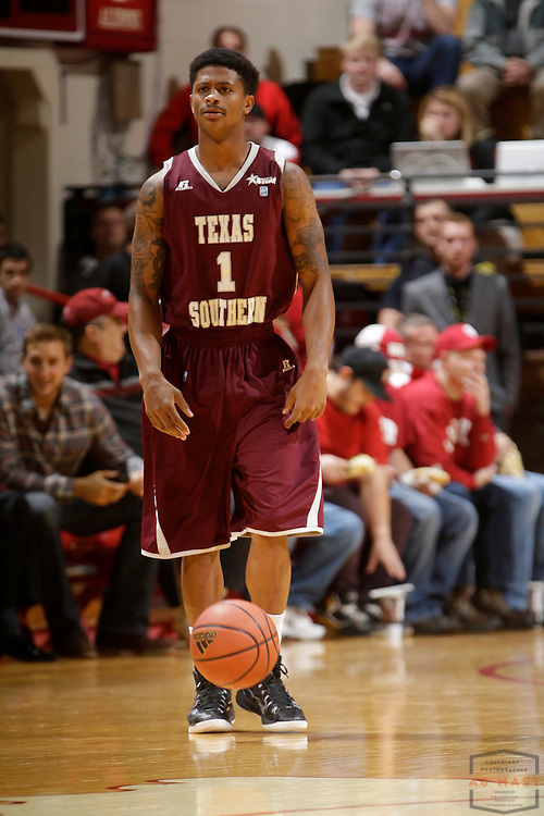 Texas Southern guard Deverell Biggs (1) as Texas Southern University played Indiana in an NCCA college basketball game, Monday, Nov. 17, 2014 in Bloomington, Ind.. (AJ Mast /Photo)