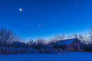 Venus (brightest), Mars (between the Moon and Venus), and the waxing cresent Moon over the old house at my property in southern Alberta. On a cold -20&deg; C night January 3, 2017.<br /> <br /> This is an HDR stack of 5 exposures at 1-stop increments with the 24mm lens and Nikon D750. Blended with ACR. Diffraction spikes added with Astronomy Tools actions.