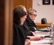 State Supreme Court Justice Susan Owens at the annual Linden Cup competition March 25 in the Barbieri Courtroom at Gonzaga Law. (GU photo by Libby Kamrowski)