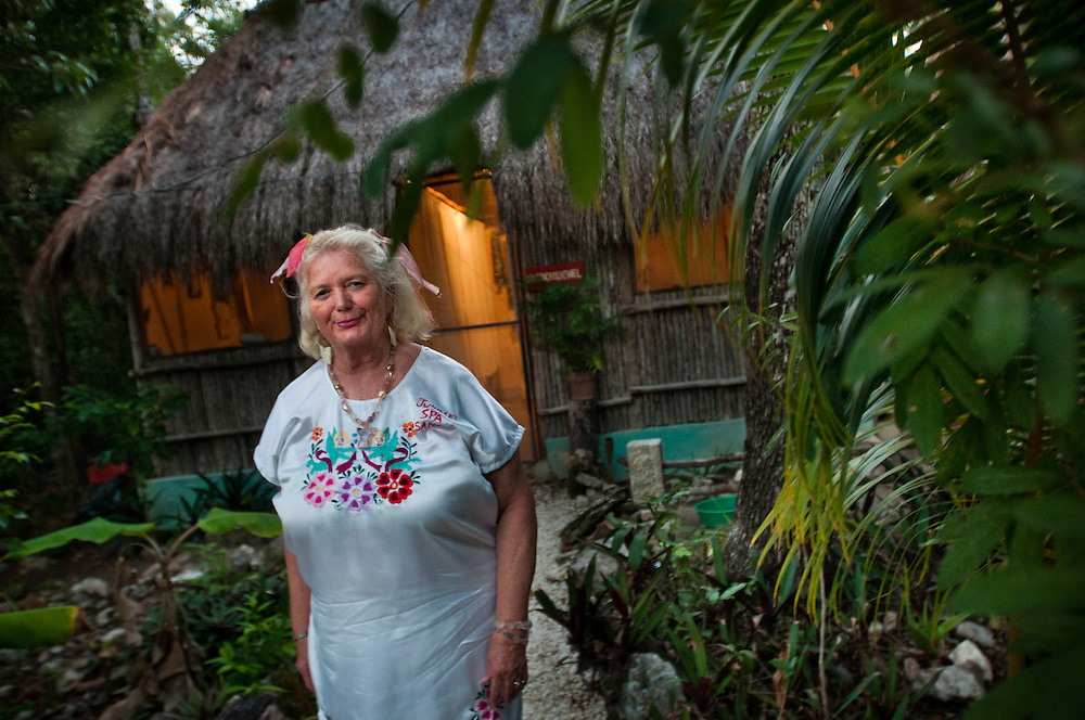 Sandra Dayton outside one of the massage huts at her Jungle Spa...The Jungle Spa in Puerto Morelos, Mexico, just 20 minutes from Cancun is managed by Sandra Dayton who is also the co-founder of the non-profit organization Lu'um K'aa Nab that helps mayan women make a living for them selves by selling handicraft and giving mayan massage at the Jungle Spa.