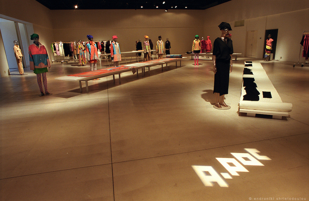 The A-POC 12 collection in the exhibition room of A-POC studios. .A-POC by Issey Miyake - TOKYO.©: Androniki Christodoulou.