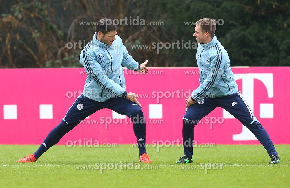 20.03.2013, Kleine Kampfbahn, Frankfurt, GER, FIFA WM Qualifikation, Training Deutschland, im Bild Heiko Westermann u. Philipp Lahm, Freisteller // during an practice session of German Footballteam // before the FIFA World Cup Qualifier at the Kleine Kampfbahn, Frankfurt, Germany on 2013/03/20. EXPA Pictures © 2013, PhotoCredit: EXPA/ Eibner/ Bildpressehaus..***** ATTENTION - OUT OF GER *****