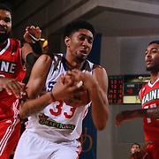 Philadelphia 76ers assignee, Center CHRISTIAN WOOD (33) pulls down the rebound in the second half of a NBA D-league regular season basketball game between the Delaware 87ers and the Maine Red Claws  Friday, Feb. 05, 2016 at The Bob Carpenter Sports Convocation Center in Newark, DEL.