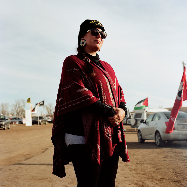 CANNON BALL, NORTH DAKOTA - NOVEMBER 25, 2016: Saginaw, Crystal Monique of Grand Rapids, Michigan recently came down to Standing Rock with her family to protest the construction of the Dakota Access Pipeline.