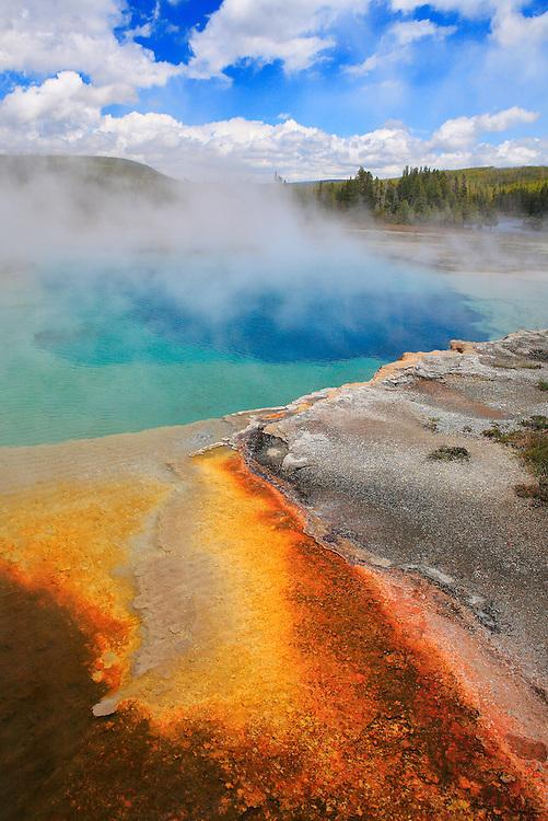 Drifting Steam Geyser Pool And Cyanobacteria - Yellowstone National Park