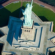 Aerial view Statue of Liberty National Monument and Ellis Island Immigration Museum,   New York Harbor