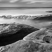 La Jolla Tide Pools - Long Exposure - Late Afternoon - Black & White