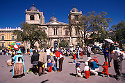 BOLIVIA, LA PAZ the country's largest city, 3632 meters, over 12,000 feet high; Cathedral and Presidential  Palace on Plaza Pedro Murillo
