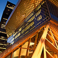 WA10107-00...WASHINGTON - Evening at the downtown branch of the Seattle Public Library building.