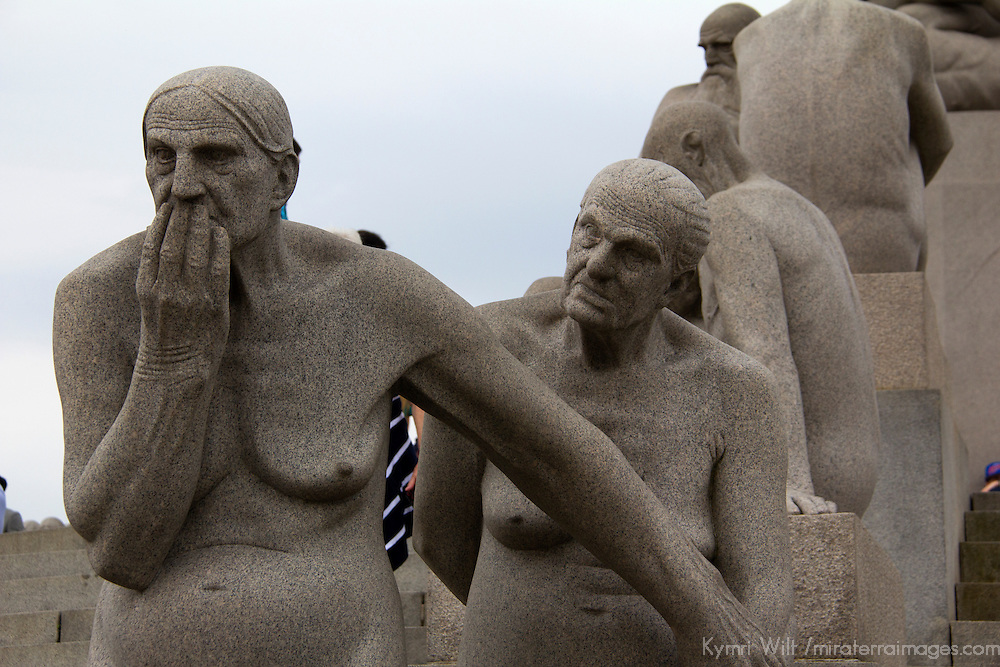 Europe, Norway, Oslo. Granite statues of human figures at Frogner Park, by Gustav Vigeland.