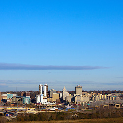 The skyline of Peoria, IL as seen from Fondulac Park in East Peoria on a clear fall morning.
