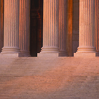 Steps and columns along the main west entrance to the U.S. Supreme Court in Washington, DC