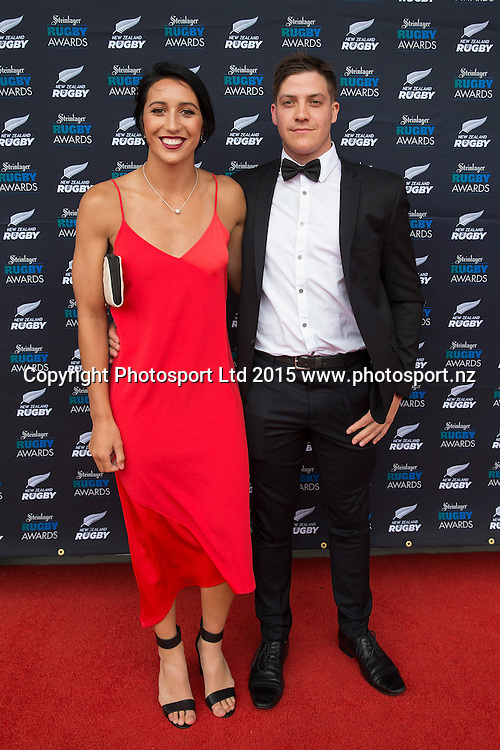 Sarah Goss and Conor Hirini at the 2015 Steinlager Rugby Awards, Viaduct Events Centre, Auckland, New Zealand, Friday, December 11, 2015. Copyright photo: David Rowland / www.photosport.nz