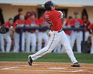 Mississippi's Matt Smith drives in Alex Yarbrough with a double vs. Florida at Oxford-University Stadium on Friday, March 26, 2010 in Oxford, Miss. Ole Miss won 3-2.