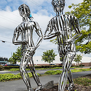 """Running"" metal sculpture by Ken Turner 2016. Funded by Art Dash, Anacortes Arts Festival, Fidalgo Island, Washington, USA."