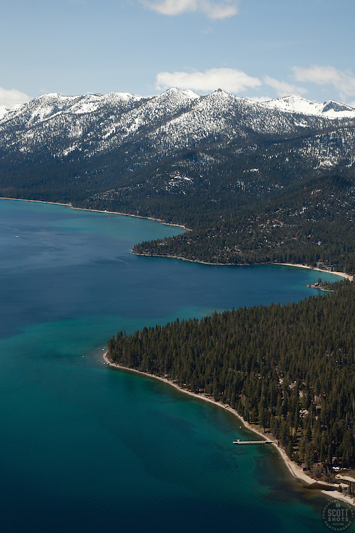 """Lake Tahoe West Shore Aerial"" - Aerial photograph from a plane over the West Shore of Lake Tahoe, CA."