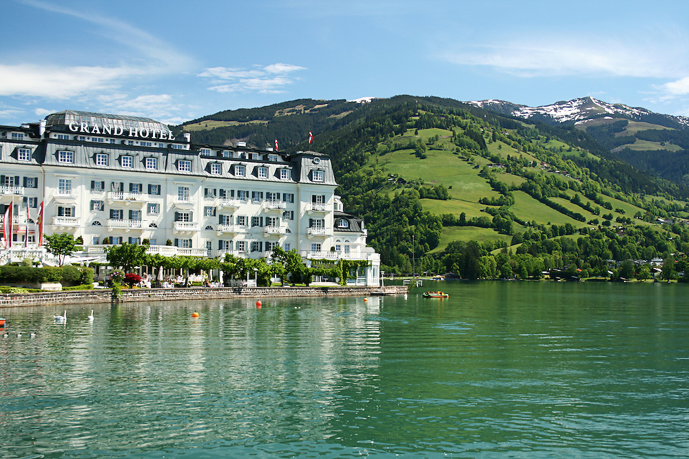 The Grand Hotel stands on the shore of the  Zeller See in Zell Am see, Austria. Built in 1894 it is the most exclusive hotel in the the town with stunning views across the lake.
