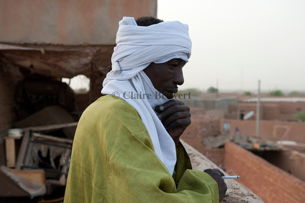 Ali in the ghetto for African migrants, Agadez.