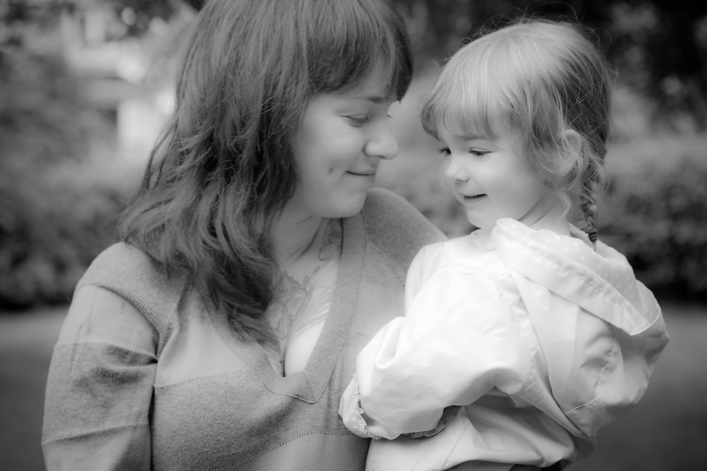 Andrea Cummings and her daughter, Adalyn, South Addition neighborhood, Anchorage