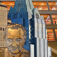 Austin, Texas Composite of Three Photos<br /> Three photos of Austin, Texas are: The silver blue, 33 story Frost Bank Tower built in 2003; A bas-relief mural of Lyndon Johnson; and a 45 million page collection of historical documents at the LBJ Presidential Library and Museum.
