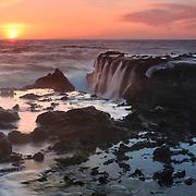 Victoria Beach Rock Shelf Waterfall Into Sunset