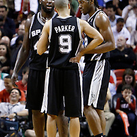 17 January 2012: San Antonio Spurs forward DeJuan Blair (45), San Antonio Spurs small forward Kawhi Leonard (2) listen to San Antonio Spurs point guard Tony Parker (9) during the Miami Heat 120-98 victory over the San Antonio Spurs at the AmericanAirlines Arena, Miami, Florida, USA.