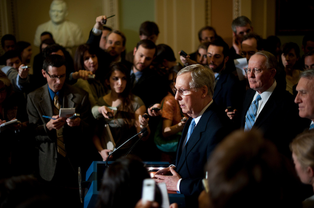Senate Minority Leader MITCH MCCONNELL (R-KY) speaks at a press conference outside of the Senate Chamber following the weekly party caucus lunches on Tuesday at the U.S. Capitol.