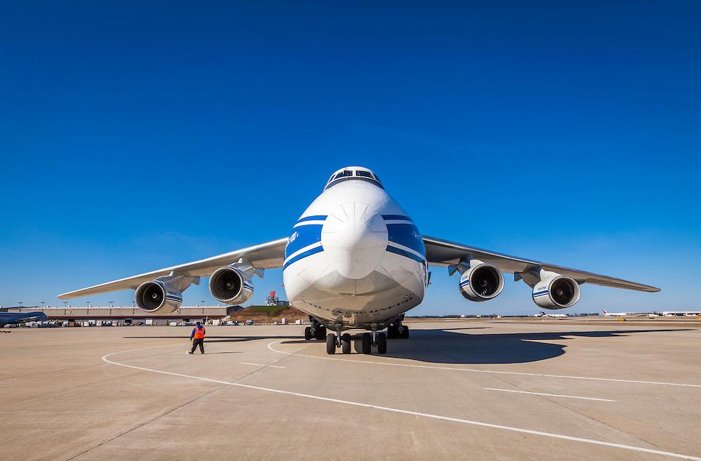 The gigantic Antonov AN-124-100 cargo aircraft at Hartsfield-Jackson Atlanta International Airport.