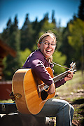Guitar playing counselor at Philmont Ranch Boy Scout Camp in Cimmeron, N.M.