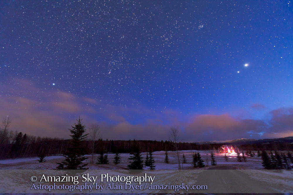 Orion and the winter sky, with Venus and Jupiter in conjunction in the western twilight, March 13, 2012. Taken from just south of Bragg Creek, Alberta, with the Canon 5D MkII at ISO 2000, and Canon 16-35mm lens at 16mm and f/4 for 30s seconds.