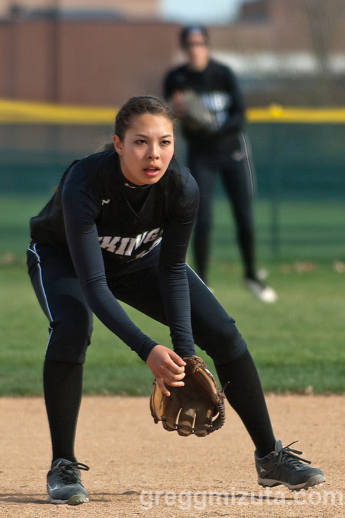 Vale shortstop Hannah Mizuta gets into position during the Vale Parma softball game, April 15, 2014 at Parma, Idaho.