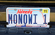 Elsie Eiler's license plate marks her as the only resident in the village of Monowi, Nebraska April 28, 2011. Eiler is the person living in Monowi making it the only incorporated town, village or city in the United States with only one resident.  REUTERS/Rick Wilking (UNITED STATES)