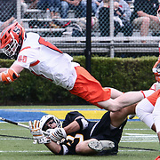 Towson Attackman BRIAN BOLEWICKI (3) and Syracuse Midfielder ANDREW HELMER (88) in action during the second half of a 2017 NCAA Division I Men's Lacrosse Quarterfinals game between unranked Towson and #2 Syracuse Sunday, May. 21, 2017 at Delaware Stadium in Newark, Delaware.