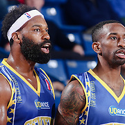 Delaware 87ers Guard BARON DAVIS (34), right, mentors Delaware 87ers Guard RUSS SMITH (5) near the sidelines in the second half of a NBA D-league regular season basketball game between the Delaware 87ers and the Iowa Energy Friday, Mar. 04, 2016. at The Bob Carpenter Sports Convocation Center in Newark, DEL.
