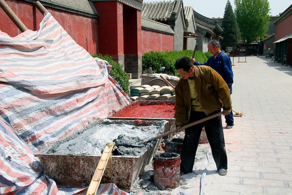 Asia, China, Beijing. Restoration efforts underway at the Forbidden Palace in Beijing, host city of the 2008 Summer Olympics.